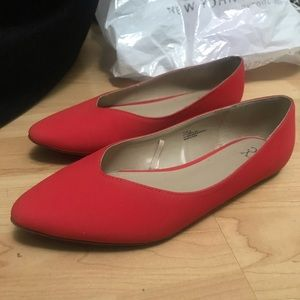 Red Faux Suede Flats